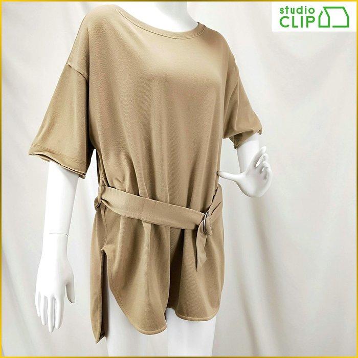 日本帯回✈️studio CLIP/前短後長/短袖/舒適女上衣/長版套頭/寬鬆罩衫/附腰帯/女裝/M号/A1F19S