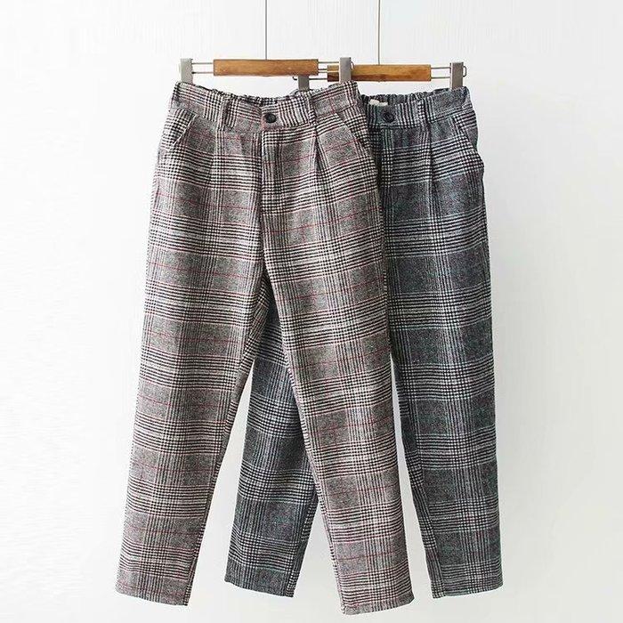 【43920】褲子 日系森女系復古學院風格子條紋長褲。☆*藍荳荳小舖*☆(現貨)