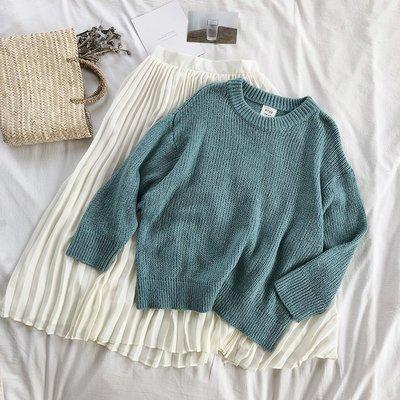 半身裙 針織裙秋季氣質小仙女綠色馬海毛毛衣+不規則褶皺中長款高腰半身裙