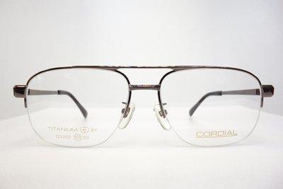 【台南中國眼鏡】CORDIAL 傳統 紳士框 純鈦 日本製 不過敏 不腐蝕 雙槓 207