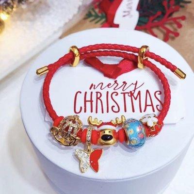黃金潘朵拉珠轉運珠3d硬黃金聖誕小路家潘多拉配件聖誕節限定