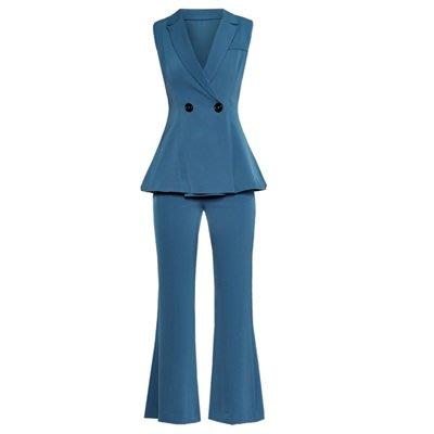 無袖套裝 喇叭褲褲裝(兩件套)-歐美時尚幹練大方女上裝73ta16[獨家進口][米蘭精品]