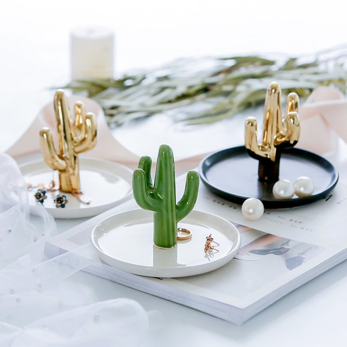 MAJPOINT*首飾 收納 盤 碟 北歐 仙人掌 居家 鑰匙 零錢 戒指 項鍊 玄關擺件 創意 禮物 道具 金 簡約