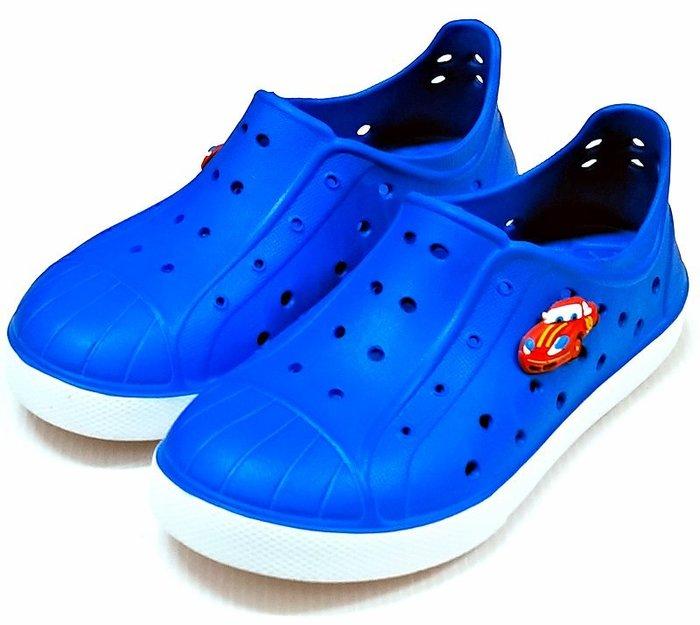 【菲瑪】TOWBOSS 閃電麥坤 洞洞鞋 防水鞋 Q彈超輕無毒止滑 藍015C