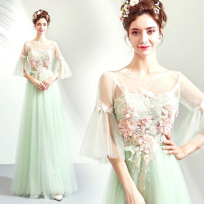 新年婚禮禮服婚紗禮服宴會禮服仙仙花朵淡綠色新娘長袖婚紗敬酒服晚宴年會禮服批發