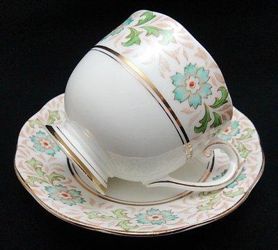 【timekeeper】  英國絕版名瓷Roslyn羅斯琳Piquant系列手繪咖啡杯+盤(免運)