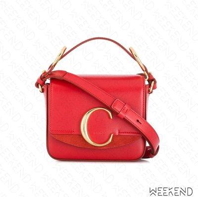 【WEEKEND】 CHLOE Mini C 迷你 C字母 皮革 肩背包 紅色 19春夏