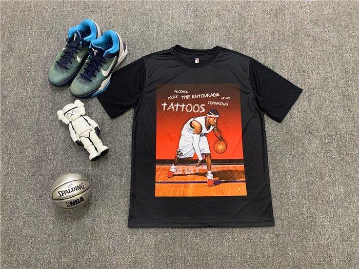 NBAT恤職籃球星艾倫·艾佛森(Allen Iverson)費城76人隊 籃球運動T恤 黑色 正版