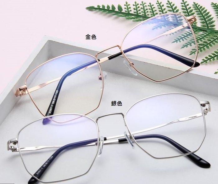 韓 小姐姐系 多邊設計造型平光眼鏡 簡約文青 細框 輕巧 學生 抗藍光 防風防塵眼鏡
