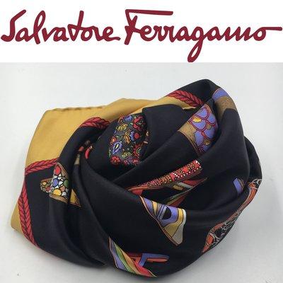 【皮老闆】1980起標 二手真品 義大利精品 Salvatore Ferragamo 絲巾 A468
