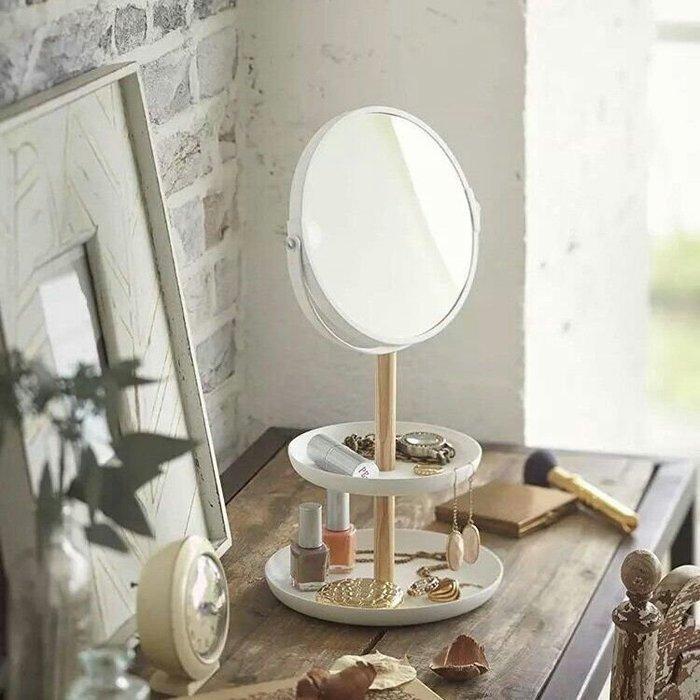 日系桌面收納化妝鏡放大鏡雙層盤
