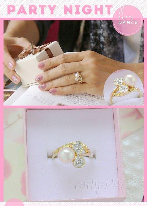 。☆凱希小舖☆。特價 日本珍珠 鑽石 純k金戒 dscn9592
