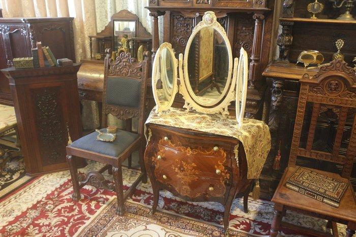 【家與收藏】特價稀有珍藏歐洲古董法國古典華麗精緻巴洛克花卉浮雕三面鏡/桌鏡11