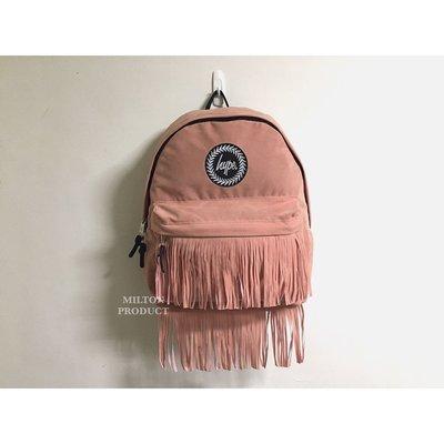 HYPE FRINGED BACKPACK 粉紅色麂皮質感流蘇後背包  英國帶回男生女生包包