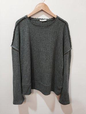 二手Zara 流行灰色寬鬆壓橫 反穿設計上衣