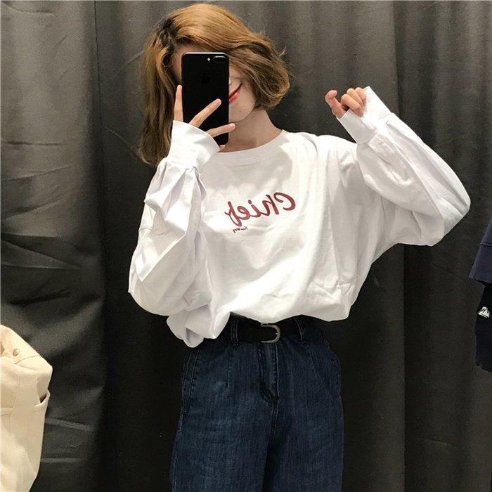 小香風 短袖T恤 時尚穿搭 女裝 韓版 寬松百搭 顯瘦 字母套頭長袖T恤中長款休閑體恤上衣潮