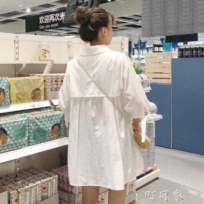 夏裝女裝韓版學院風寬鬆POLO領洋裝子短裙五分袖長款襯衫裙