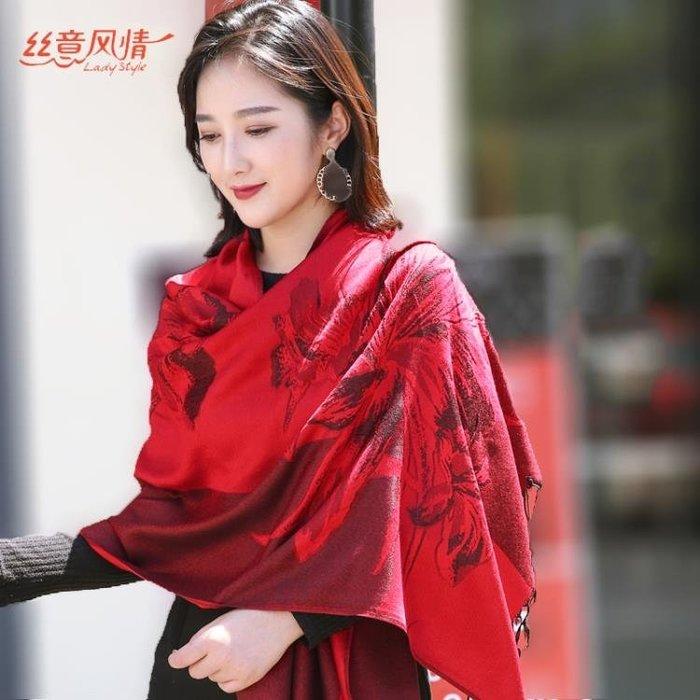 圍巾絲意風情秋冬新款韓版仿羊絨圍巾女長款大披肩保暖圍脖兩用