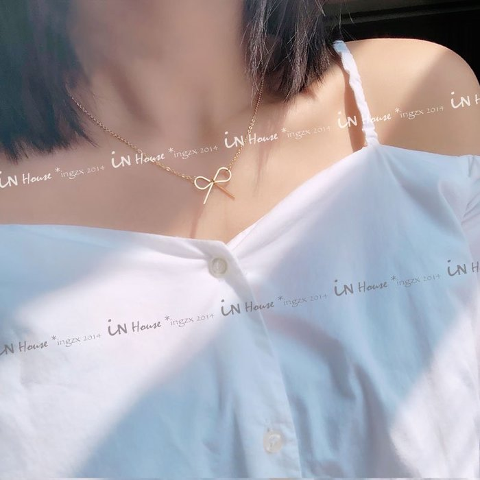 IN House* 現貨 韓版 秀氣 典雅 氣質 金色 蝴蝶結 項鍊 choker 頸鍊 飾品 (特價)