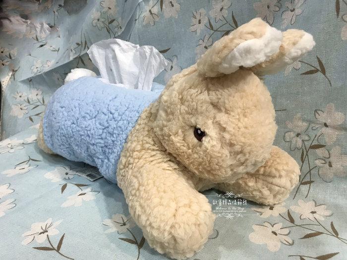 ~*歐室精品傢飾館*~Peter Rabbit 彼得兔 比得兔 鄉村風 趴趴兔 造型 面紙套 絨毛玩具 藍 ~新款上市~