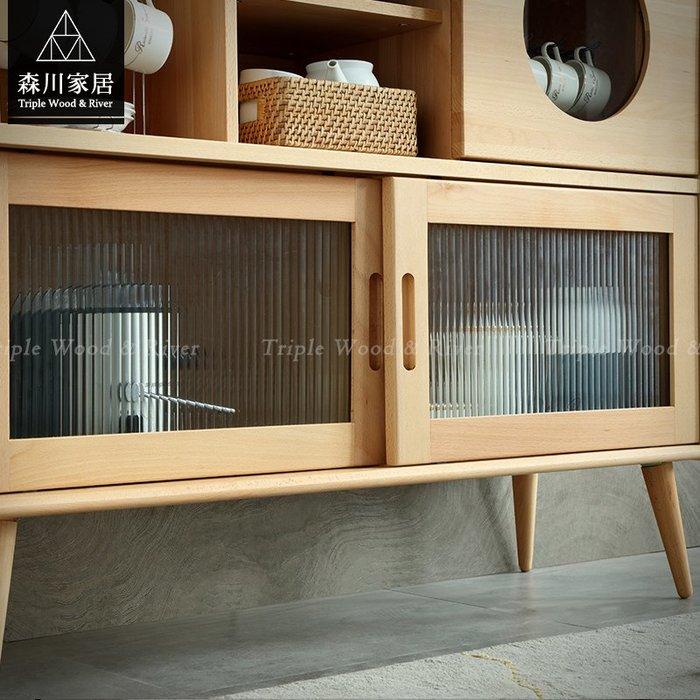 《森川家居》NLF-51LF05-北歐實木山毛櫸收納櫃 餐邊櫃客廳房間民宿/展示櫃設計/日式原木LOFT品東西IKEA