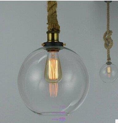 「一燈」美式鄉村loft復古工業玻璃 單頭麻繩藝術服裝店裝飾吊燈y_d*3071