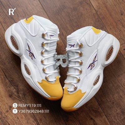 R現貨8.5+代購 Reebok Question Mid Yellow Toe Kobe 湖人 白紫黃腳趾 FX4278