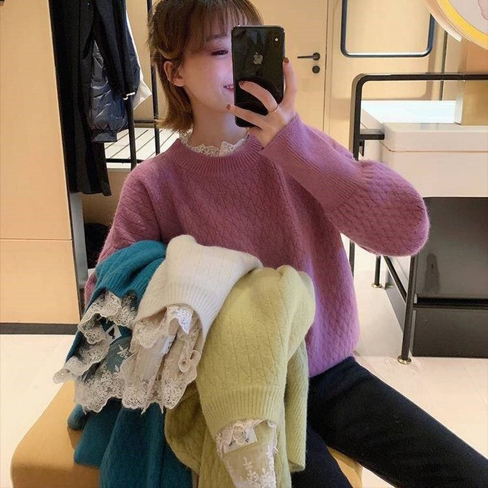 假2件式甜美溫暖風毛衣上衣 假兩件蕾絲拼接針織衫 艾爾莎【TGK8573】