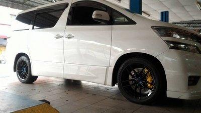 【Xiomara GT】煞車 卡鉗 活塞 TOYOTA VELLFIRE 330劃線打洞碟盤 街道版-大六卡鉗 烤漆黃