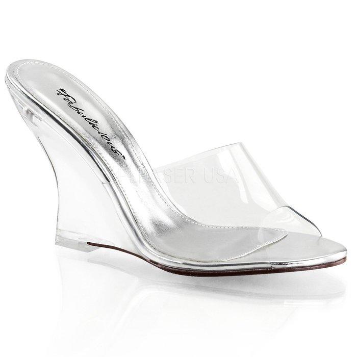 Shoes InStyle《四吋》美國品牌 FABULICIOUS 原廠正品透明楔型高跟拖鞋 有大尺碼『銀色』