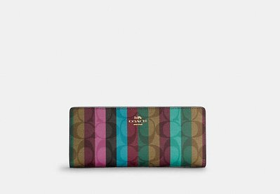 Coach Slim Wallet In Signature Canvas With Stripe Print