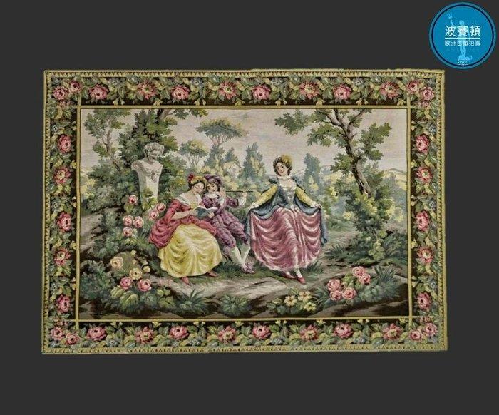 【波賽頓-歐洲古董拍賣】歐洲/西洋古董 法國早期 20世紀 洛可可風格音樂場景2(Galante)壁毯/掛毯(尺寸:124x90公分)