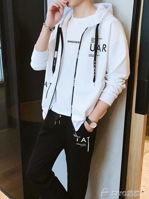日和生活館 衛衣套裝男春秋新款韓版潮流學生連帽衫青少年休閒運動兩件套S686