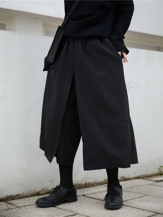 【鈷藍家】山本風SU秋小眾Yohji暗黑設計層疊感寬褲雙層闊腿褲裙