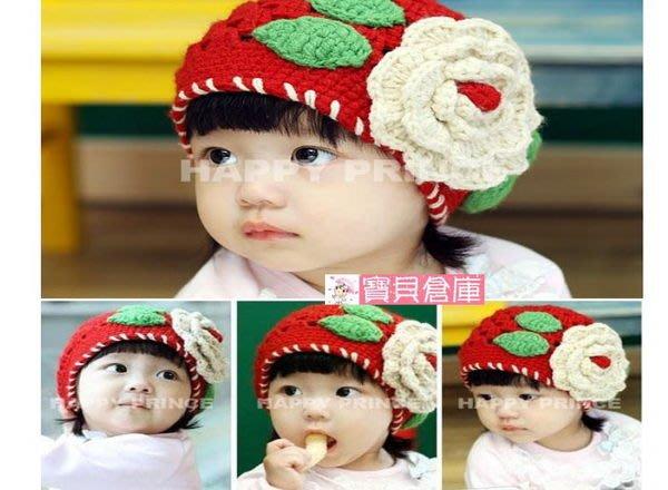 寶貝倉庫~韓國爆款~手工帽~秋冬兒童四片葉大花朵手工帽~毛線針織帽子~幼兒毛線帽~童帽