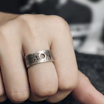 CHIC U 手作飾品原創設計鏤空復古做舊銀戒指男女潮簡約個性百搭中戒開口指環戒指