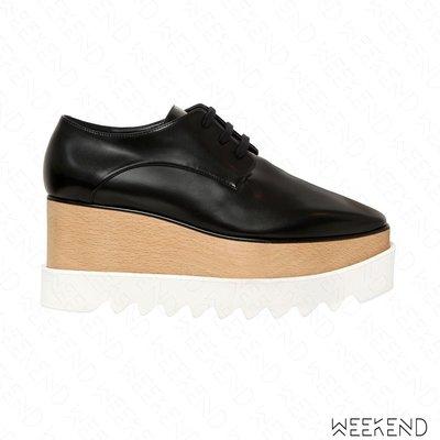 【WEEKEND】 STELLA MCCARTNEY Elyse 厚底 楔形 皮革 牛津鞋 黑色