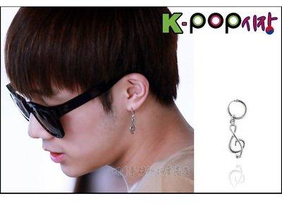 K-POP Market。韓國進口ASMAMA官方正品 INFINITE 金聖圭 同款音符旋律造型圓環耳環 (單支價)