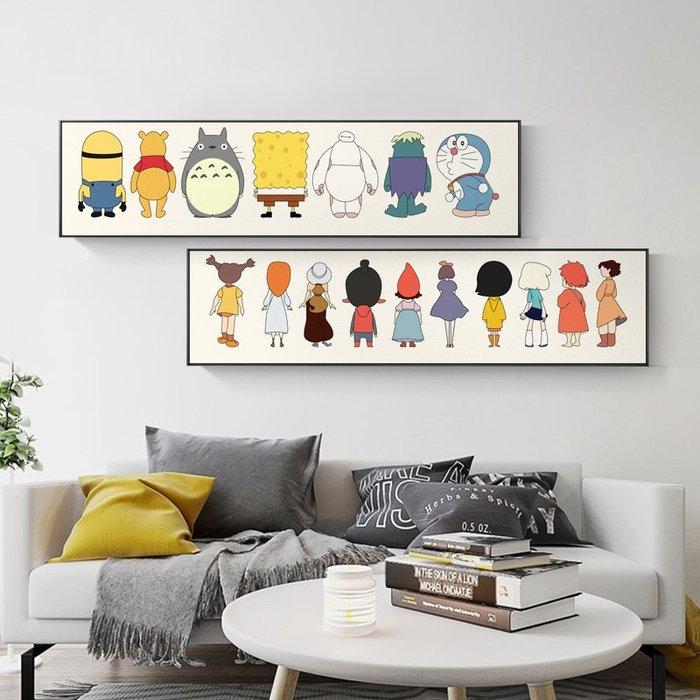 簡約現代北歐卡通手繪線條日漫人物兒童房床頭裝飾畫畫芯微噴打印(3款可選)
