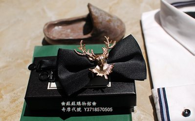 ❀蘇蘇購物館❀金色雙層鹿角手工結婚領結煲汰時尚西歐聚會