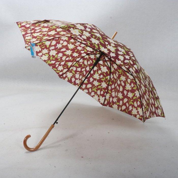 奇奇店-木紋柄百合花卉自然元素長柄女士自動雨傘#加固 #小清新 #晴雨兩用