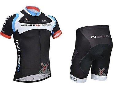 推進# 2014款NALINI 黑藍 車衣車褲短套裝 自行車服 單車服 頂極排汗透氣 騎士服