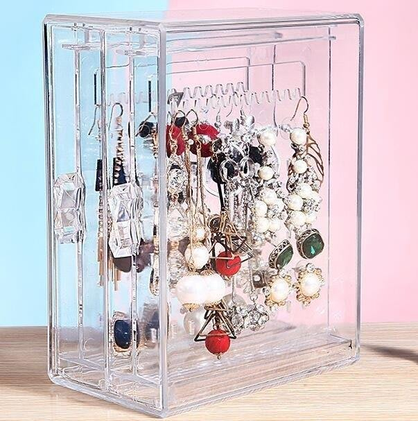 麥麥部落 首飾盒耳環盒透明整理耳釘首飾項鍊收納盒正韓亞克力耳飾飾品防塵MB9D8