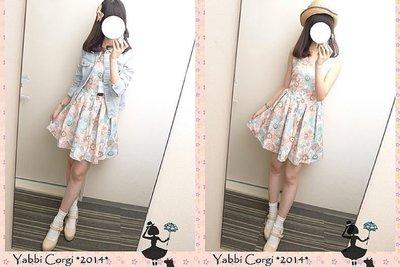 全新轉賣 YABBI -【Mar028】Dazzlin 春天粉嫩配色感花朵渲染無袖洋裝 粉M