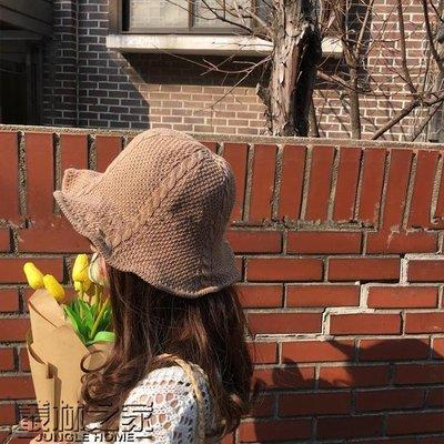 日系chic漁夫帽女羊毛保暖針織帽韓版可折疊秋冬文藝百搭棉麻盆帽