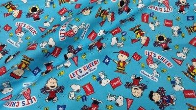 豬豬日本拼布 限量版權卡通布 啦啦隊史努比 藍色款 牛津布厚棉布材質