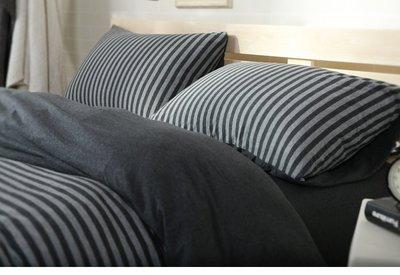 #S.S 可訂製無印良品風格天竺棉純棉材質雙人床包單人床包組 黑底灰條紋 棉被床罩寢具 ikea hola muji