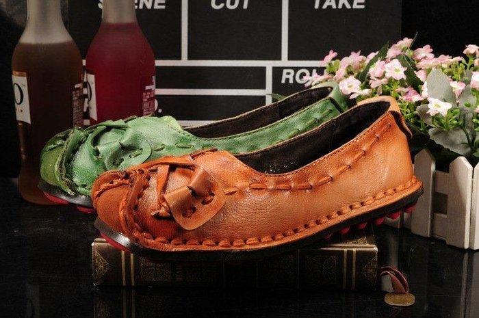 日和生活館 原創民族復古單鞋 春夏新款女鞋真皮手工女鞋 牛皮平底鞋休閒鞋 ZC164188