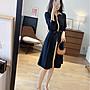 出口日本~版型美 質感好摺皺感面料收腰繫帶洋裝 1176