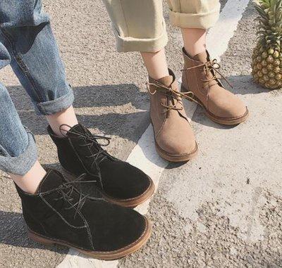 2017 復古做舊英倫風馬丁靴百搭學生平底短靴系帶女靴子潮 馬丁靴 英倫風 裸靴 女鞋厚底 短筒靴 短靴 女靴